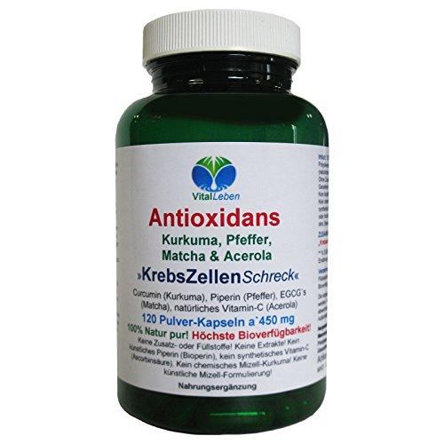 Antioxidans, Kurkuma, Pfeffer, Matcha & Acerola, 120 Pulver-Kapseln a 450mg, #25257