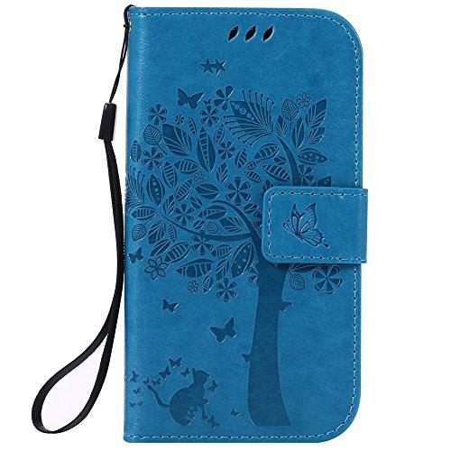 Chreey Coque Samsung Galaxy S4 / GT-i9500 (5 pouces) ,PU Cuir Portefeuille Etui Housse Case Cover ,carte de crédit Fentes pour ,idéal pour protéger votre téléphone ,(arbre - chat)