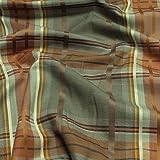Stoff Polyester Baumwolle Wolle Karo braun farngrün weich