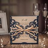 VStoy Neueste Royalblue Laser-Schnitt-Hochzeits-Einladungs-Installationssätze mit Bowknot-hohle Blumen lädt Karten für Hochzeits-Hochzeits-Geburtstags-Staffelungs-Party-Bevorzugungen ein (20PCS)