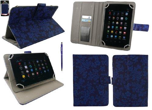 Emartbuy® AlpenTab 7 Zoll Tablet PC Universalbereich Vintage Floral Blau Multi Winkel Folio Executive Case Cover Wallet Hülle Schutzhülle mit Kartensteckplätze + Blau 2 in 1 Eingabestift