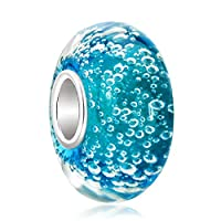 Uniqueen Jewellery Murano Glass Bead On Sterling Silver Core For European Charm Bracelets (Water Drop)