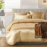 TanNicoor Satin Bettwäsche-Set mit Seidenfeeling, Set aus 1Spannbettlaken & 1 bzw. 2Kissenbezügen, 50 % Baumwolle,  50 % Polyester, gold, 200 x 200 cm