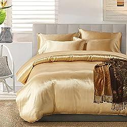 TanNicoor Satin Bettwäsche-Set mit Seidenfeeling, Set aus 1Spannbettlaken & 1 bzw. 2Kissenbezügen, 50 % Baumwolle, 50 % Polyester, gold, 135 x 200 cm