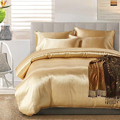 Seiden-satin-bettwäsche (TanNicoor Satin Bettwäsche-Set mit Seidenfeeling, Set aus 1Spannbettlaken & 1 bzw. 2Kissenbezügen, 50 % Baumwolle,  50 % Polyester, gold, 200 x 200 cm)