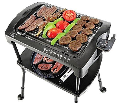 BBQgrill | Tischgrill | ELEKTRO GRILL | Partygrill | elektrischer Grill | BBQ Elektrogrill | 2000 W. | Cool Touch Griffe | Rauchfrei (Elektro Grill mit Standfüßen)