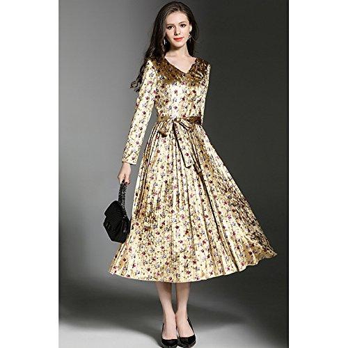 kekafu Women's Casual/Täglich Einfache Mantel Kleid, Polka Dot V-Ausschnitt Maxi Langarm Polyester Winter fallen, Mittelhohes Micro-elastischen Opak, XL, Blau (Womens Polka Dot Mantel)