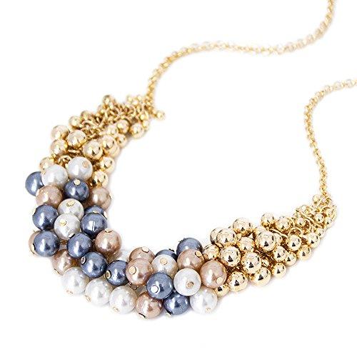 Modische Damen Statement Kette Schmuck Halskette Kette Modeschmuck Accessoire XXL Collier Statement-Collier mit Perlen Mehrfarbig