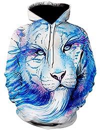 YZANYFQH OtoñO/Invierno Abrigo Superior para Hombres Y Mujeres Cielo Estrellado ImpresióN 3D Cuello Redondo SuéTer con Capucha