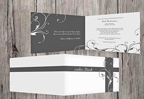 Trauerkarten-Druck | Trauerdanksagung | Danksagung Trauer Blumenkreuz | 30 Karten | mit Individualisierung & Umschlägen | in Grau