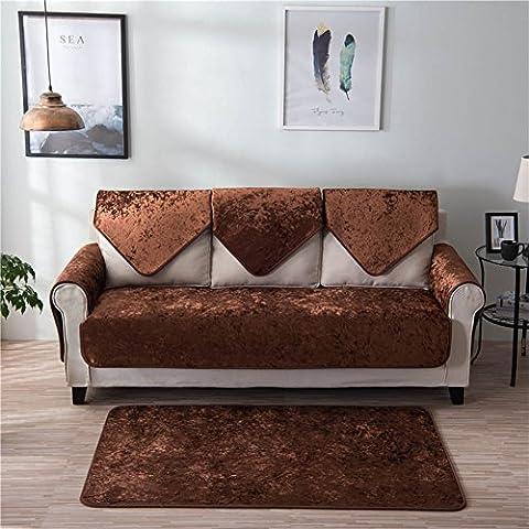 Hotniu Morden chaud Canapé couvertures solide antidérapant Canapé protecteurs avec Multi Taille Disponible Accoudoir dossier Serviette, Polyester, marron, 90 x 90cm(Backrest/1 Seater)