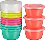 Kigima Mini-Tiefkühldose Frischhaltedose 250ml rund 12er Set bunt