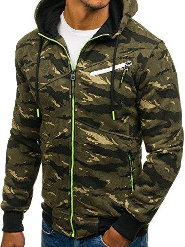 BOLF – Sweat-shirt – Con cerniera – Felpa con cappuccio – Hoodie – Sport – Motivo – Uomo [1A1] Verde-Celadón