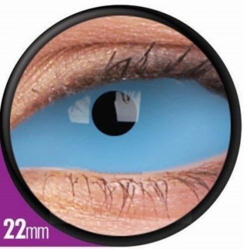 1 Paar Sclera ATHENA Kontaktlinsen linsen farbig blau vampir mit Box dämon halloween kostüme scleral (Athena Halloween Kostüm)