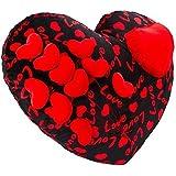 Jiada Cute Heart Cushion Stuffed Soft Plush Toy - Valentine Gift| 36 CM (Red And Black)