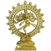 Statua in ottone Nataraja 24cm Natraj Divinità Hindu apparizione di Shiva Mano d