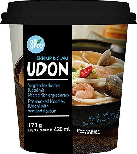 ALLGROO Udon Cup Nudeln, Meeresfrüchte, 6er Pack (6 x 173 g)