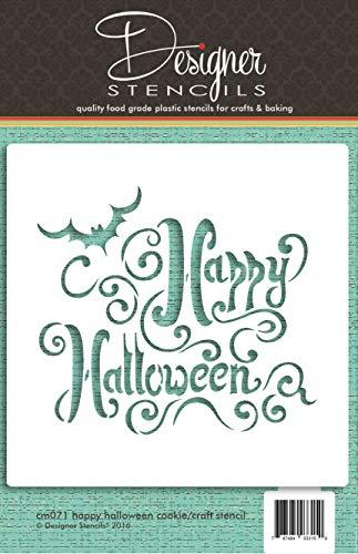 er Stencils, mit Aufschrift: Happy Halloween (evtl. nicht in deutscher Sprache), zum Dekorieren von Keksen und Basteln, CM071 ()