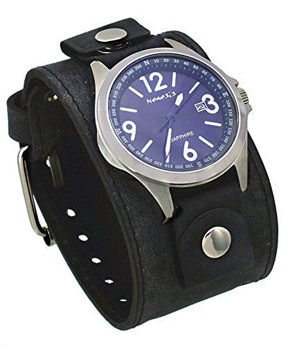 Nemesis FLBB251L Men's Signature Sapphire Collection Blue Dial Wide Leather Band Watch