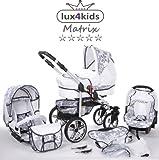 Chilly Kids Matrix II Kinderwagen Komplettset (Autositz & Adapter, Regenschutz, Moskitonetz, Schwenkräder) 65 Weiß & Graphit Blumen
