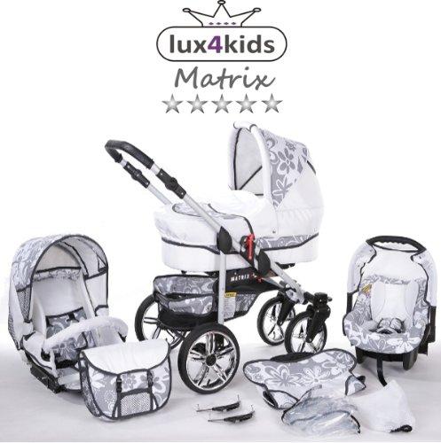 Chilly Kids Matrix II Kinderwagen Sommer-Set (Sonnenschirm, Autositz, Regenschutz, Moskitonetz, Schwenkräder) 65 Weiß & Graphit Blumen