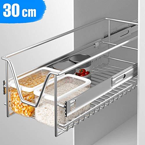 Bakaji cassetto telescopico mobili cucina cestello mensola estraibile mobile salvaspazio con binario in acciaio inox (30 cm)