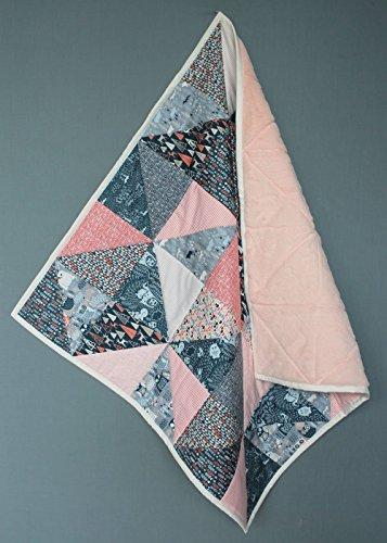 Babydecke / Baby Quilt - Dreiecke - Eule - Orange Blau Grau Aprikose