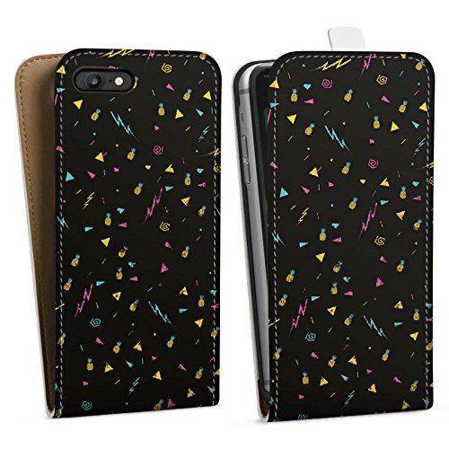 Apple iPhone X Silikon Hülle Case Schutzhülle Ananas Blitz Schwarz Downflip Tasche weiß