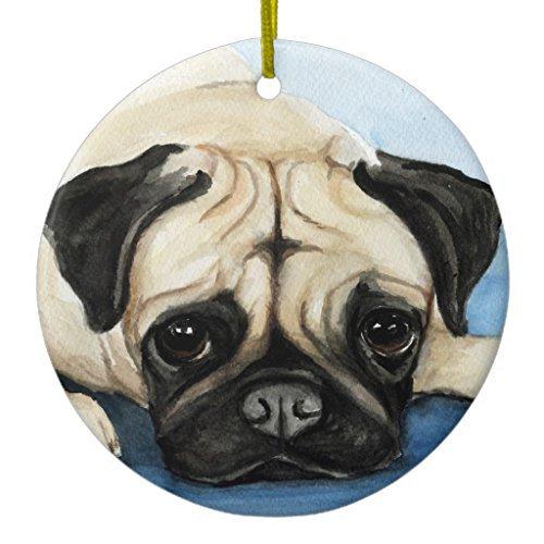 Ornamente für Weihnachtsbaum Mops Hund Art Ornament Kreis rund Dekorative Ornament, zum Aufhängen Xmas Geschenk -