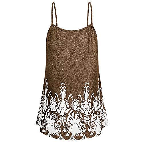 LOPILY Bluse Hemd Pullover Top Frauen Mode Casual Blume Gedruckt Tank Top Blumendruck Stretch Falten Halfter Sling Top Weste Spaghettiträger Strand Weste Tank(Kaffee,EU-38/CN-M)