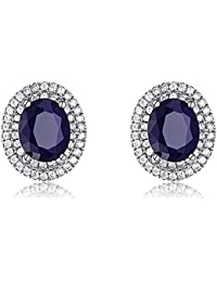 Silver Shoppee Valentine Special Platinum Plated Swarovski Crystal and Zircon Studded Sterling Silver Earrings for Girls and Women