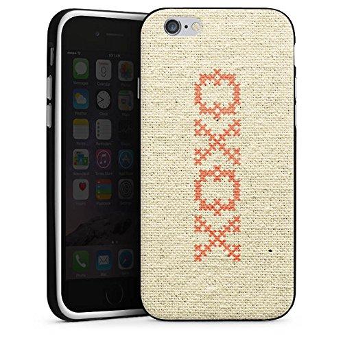 Apple iPhone X Silikon Hülle Case Schutzhülle xoxo Love Hugs Kisses Spruch Muster Silikon Case schwarz / weiß