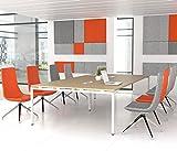 NOVA Konferenztisch 320x164cm Eiche mit ELEKTRIFIZIERUNG Besprechungstisch Tisch