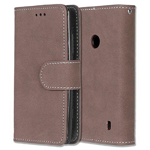 Nokia Lumia 520 Hülle, Chreey Matt Leder Tasche Retro Handyhülle Magnet Flip Case mit Kartenfach Geldbörse Schutzhülle Etui [Braun]