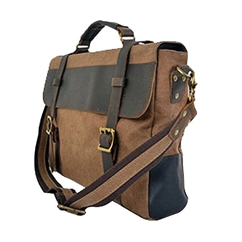 Paonies Herren Canvas Leder Messenger Bag Handtasche Aktentasche Umhängetasche (Grau) Kaffee