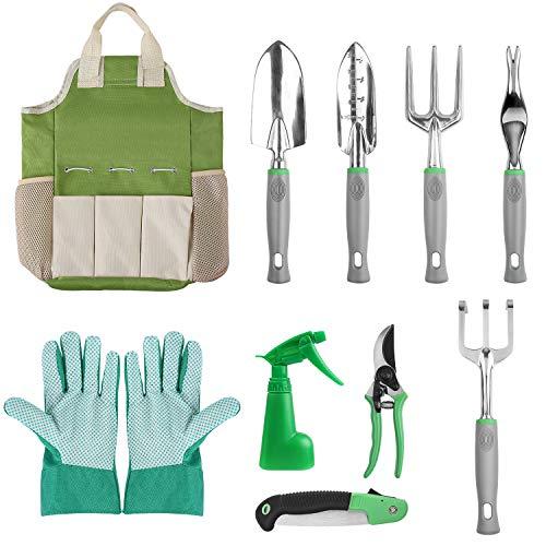 FIXKIT 10 PCS Gartengeräte-Set, Gartengeräte aus Kelle, Transplanter, Weeder, Handrechen, Handgabel, 600D Oxford Stofftasche usw. - Oxford Set
