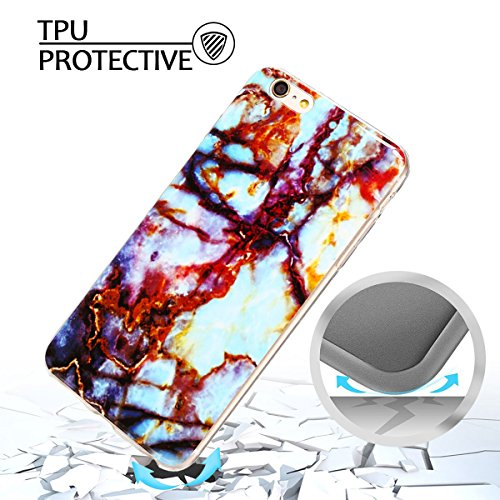 iphone 6 plus Hülle, Marmor Design Muster TPU Dünn Silikon Schutzhülle für iphone 6 plus , E-lush Kristallklar Durchsichtig Kratzfeste Handyhülle Ultra Chic Thin Weich Schutzhülle Rückschale Etui Bump braun