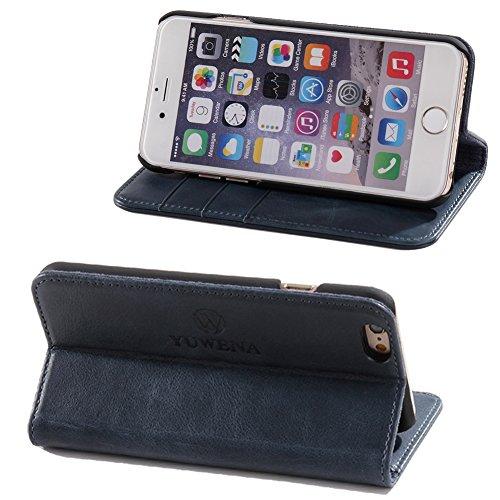 iPhone 6S-6 Leather Case mit Bargeld und Kreditkarten-Speicherplatz-KickStand-Funktion für Hands-einfach zu beantworten Anruf und Close mit Embedded Magnetic Closure System(4.7 zoll)Rot braun Blau