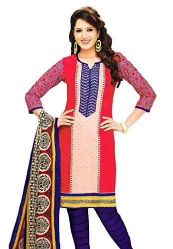 Salwar Studio Red & Voilet Cotton unstitched churidar kameez with dupatta-MCM-4567