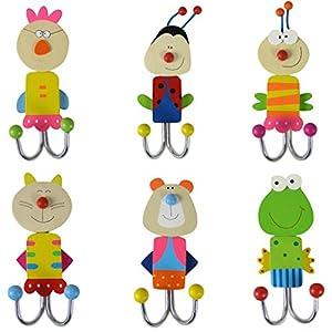 Wandhaken Kinder 6er Set Garderobenhaken Holz Kleiderhaken bunt