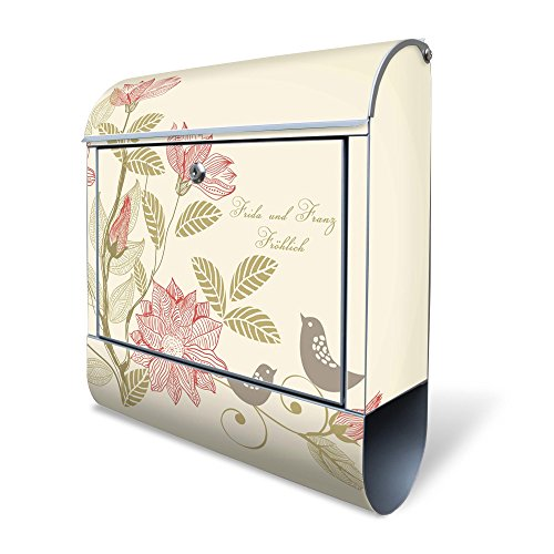 BANJADO Design Briefkasten mit Zeitungsfach, 2 Schlüssel, A4 Einwurf, silber pulverbeschichtet, mit Motiv WT Vogelhochzeit