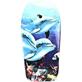 Lively Moments Bodyboard 94 cm/Body Board/Surfboard/Schwimmbrett in hellblau mit 3 Delfinen