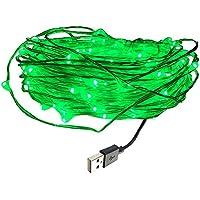DZYDZR 10 m / 33 ft USB LED Lichterkette Kupferdraht 100 LEDs Wasserdicht Sternenlicht für Innen- und Außenbereich, Geburtstag, Hochzeit, Weihnachtsfeier (Grün)