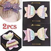 lilyshopingstore 2pcs Shiny Bling Sparkling Glitter Sequins Boutique Wedding Bownot Bow Hair Clip Hairpin Accessories For Girls Toddlers Women Gift