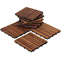 The EZ-Floor interlocking flooring tiles come in a oiled finish in a solid teak wood. No glue or tools are required - just snap the interlocking tiles together. Can be used for indoor or outdoor settings. Perfect for a entryway, mudroom, deck, terrac...