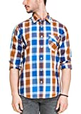 Zovi Men's Slim Fit BlueWhite & Brown Ch...