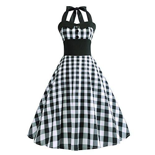 Yvelands Weihnachten Kleider Weihnachts Rockabilly Kleider Neckholder 50s Vintage Kleid Retro...