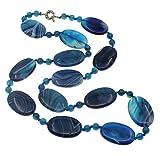 Treasurebay 68cm/68,6cm blu agata collana catena con chiusura ad anello–presentato in una bella confezione regalo