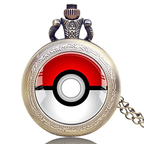 Image of Pokemon Logo Quartz Pocket Watch Necklace - Antique Bronze Effect - GIFT BOXED WITH FREE SPARE BATTERY