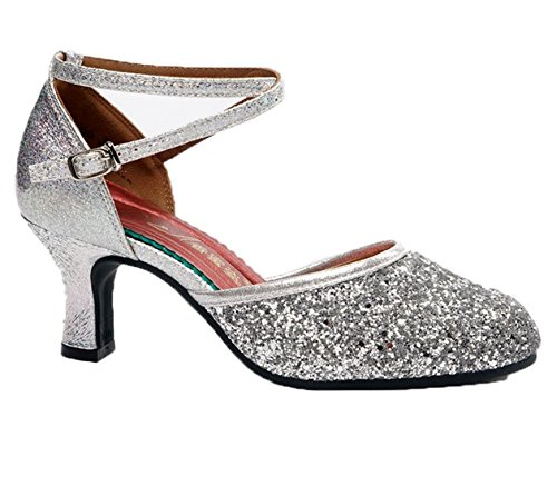 Wxmddn Chaussures De Danse Chaussures De Danse Latine Avec Des Talons Hauts Chaussures De Danse Silver Outdoor 6.5cm